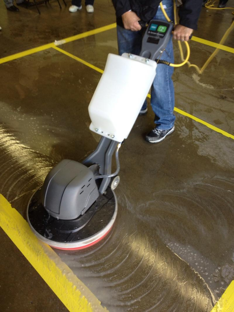 The first step in polishing concrete